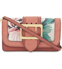 Burberry Buckle Leather Cross Body Bag Floral Copper Pink