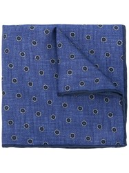 Canali Flower Spot Pocket Square Blue