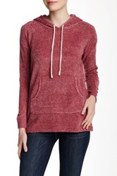 Carol Rose Hooded Long Sleeve Pullover Red