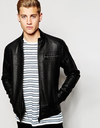 Jack And Jones Jack And Jones Faux Grained Leather Jacket Black
