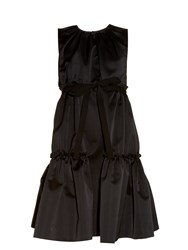 Rochas Tiered Duchess Satin Sleeveless Dress Black