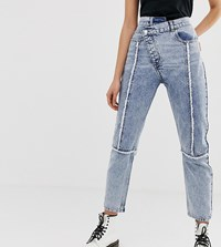 Reclaimed Vintage The 89' Slim Leg Jean With Reworked And Distressed Seams Blue