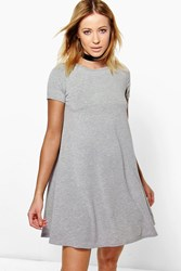 Boohoo Basic Scoop Neck Cap Sleeve Swing Dress Grey Marl