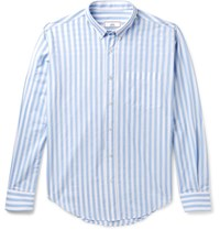 Ami Alexandre Mattiussi Button Down Collar Striped Cotton Shirt Light Blue