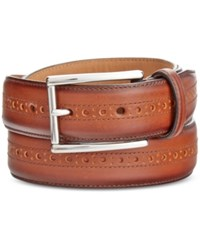 Cole Haan Men's Leather Wing Tip Belt Tan