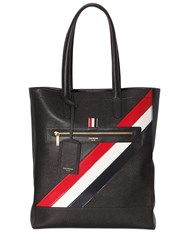 Thom Browne Pebbled Leather Tote Bag W Stripes