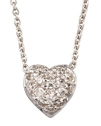 Roberto Coin Pave Puffed Heart Necklace White Gold