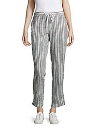 Beach Lunch Lounge Striped Linen Blend Pants Blue