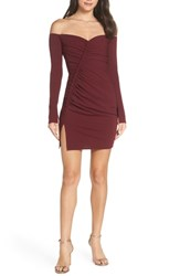 Katie May Off The Shoulder Ruched Cocktail Sheath Bordeaux
