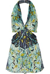 Anna Sui Cutout Printed Silk Crepon Playsuit Turquoise