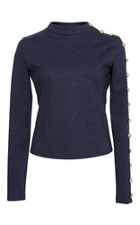 Alexis Mabille Denim Jersey Buttoned Top Navy