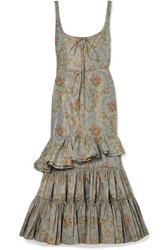 Brock Collection Onilde Tiered Floral Print Cotton Blend Poplin Maxi Dress Gray Green