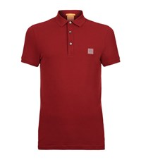 Boss Orange Logo Stretch Polo Shirt Male Red