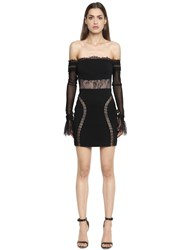 Vatanika Off The Shoulder Lace And Crepe Mini Dress