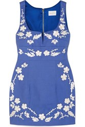 Alice Mccall Pastime Paradise Embroidered Cotton Mini Dress Blue