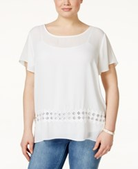 Ing Plus Size Short Sleeve Crochet Top Off White