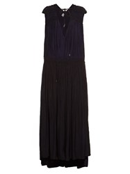 Lanvin Gathered Washed Satin Gown Navy