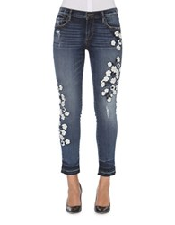 Driftwood Floral Embossed Cropped Jeans Dark Blue