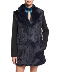 Nanette Lepore Long Sleeve Fur Front Combo Coat Midnight Black