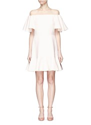 Valentino Ruffle Crepe Couture Off Shoulder Dress Pink