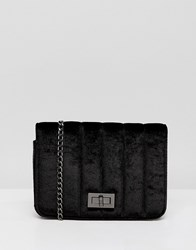 French Connection Velvet Quilted Bag With Chain Strap Black