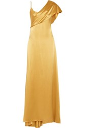 Cushnie Et Ochs Zahara Draped Silk Charmeuse Gown Gold