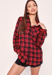 Missguided Brushed Checked Long Sleeve Shirt Red