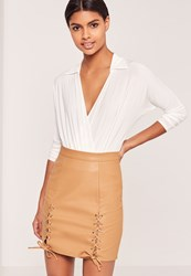 Missguided Eyelet Lace Up Faux Leather Mini Skirt Tan