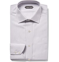 Tom Ford Grey Slim Fit Striped Cotton Shirt Gray