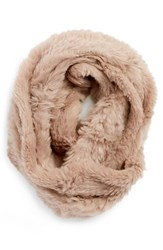 Women's Love Token Genuine Rabbit Fur Infinity Scarf Pink Blush