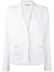 Le Tricot Perugia Slouch Knitted Cardigan Women Cotton Polyamide Polyester Viscose L White
