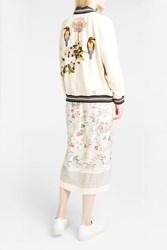 Vilshenko Women S Bird And Flower Embroidered Bomber Jacket Boutique1 Ivory