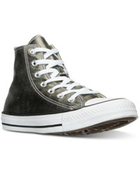 Converse Women's Chuck Taylor High Top Metallic Leather Casual Sneakers From Finish Line Metallic Herbal White Bla