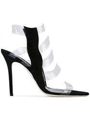 Aperlai Clear Strap Sandals Women Leather Suede Plastic 36 Black
