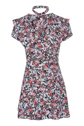 Topshop Sky Floral Frill Wrap Tea Dress Light Blue
