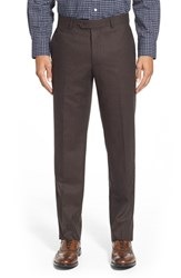 Men's Big And Tall Nordstrom Flat Front Herringbone Wool Trousers Brown
