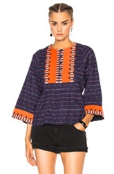 Apiece Apart Todos Santos Drape Top In Abstract Blue Red Abstract Blue Red