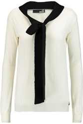 Love Moschino Pussy Bow Wool Blend Sweater White