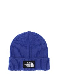The North Face Logo Box Cuffed Acrylic Blend Beanie Electric Blue