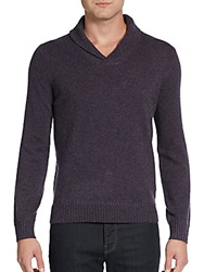 Saks Fifth Avenue Black Shawl Collar Cashmere Sweater Peat Heather