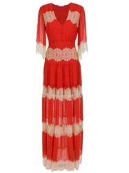Spacenk Nk Lace Silk Long Dress Red