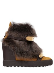 Giuseppe Zanotti 90Mm Fur And Suede Wedge Sneakers