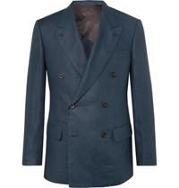 Kingsman Navy Slim Fit Double Breasted Linen Suit Jacket Navy