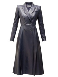 Alexander Mcqueen Double Breasted Pleated Leather Coat Navy