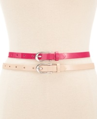 Style And Co. Patent 2 For 1 Belt Pink Blush