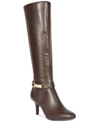 Alfani Women's Jemsey Wide Calf Dress Boots Women's Shoes Dark Brown