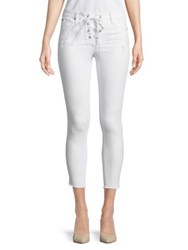 Design Lab Lord And Taylor Cropped Lace Up Jeans Iced White