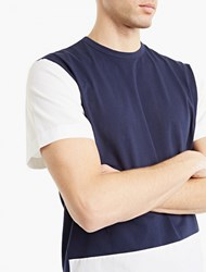 Marni Navy Colour Block Cotton T Shirt Blue