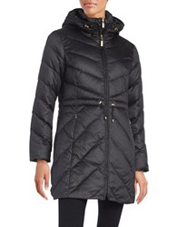 Ellen Tracy Chevron Quilted Down Jacket Black