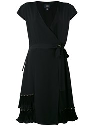 Class Roberto Cavalli Pleated Trim Wrap Dress Women Silk Polyester Acetate 42 Black